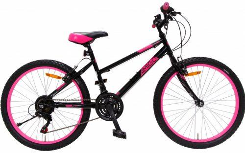 Amigo - Power 24 Inch 38 Cm Meisjes 18v V-brakes Zwart/roze