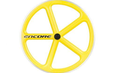 Encore 5 Spaak Voorwiel - Carbon Weave - Geel