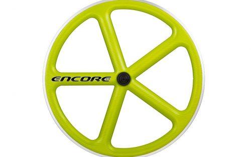 Encore 5 Spaak Voorwiel - Carbon Weave - Lime Groen