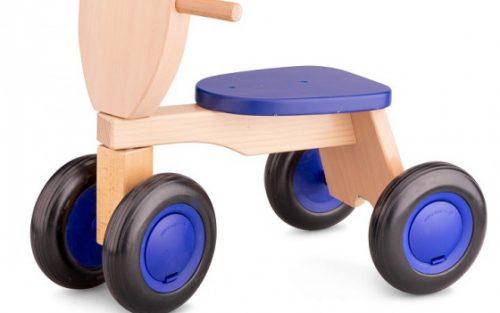New Classic Toys - Loopfiets Road Star 4 Wielen 50 Cm Hout Blauw