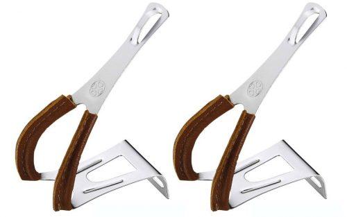 VP Simple Steel Leer Toe Clips - Zilver