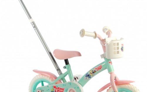 Woezel & Pip - Meisjesfiets 10 Inch 18 Cm Meisjes Doortrapper Groen/roze