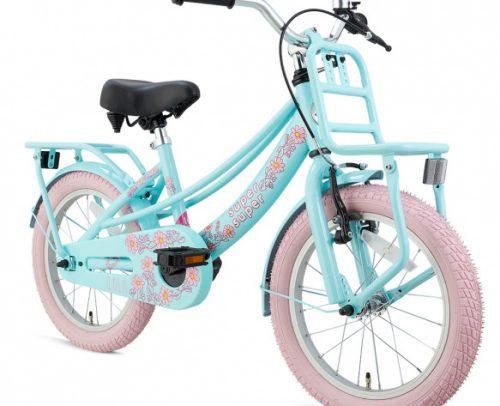 Supersuper - Lola 18 Inch 28 Cm Meisjes V-brakes Lichtblauw/roze